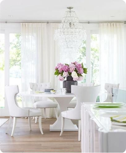 Attirant Crystal Chandelier, White Table, White Fabric Chairs, Sheer Curtains. The  Colorful Flowers Really Stand Out