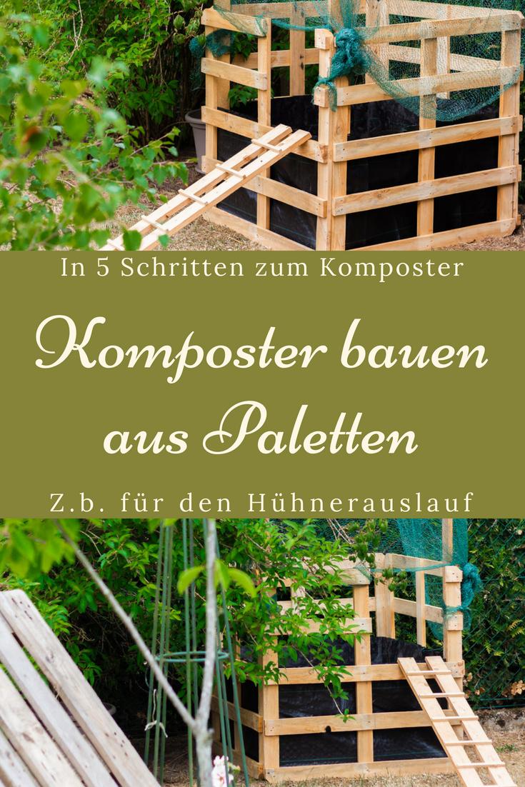 kompost anlegen für unsere hühner - komposter aus holz bauen