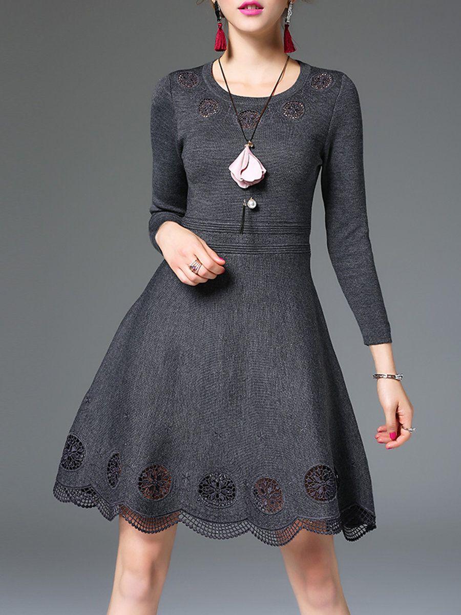 Fan shang dark gray sleeve a line denim dress casual dresses