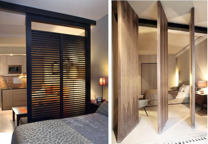 astuces petit studio amenagement chambre cloisons amovibles jpg rangements pinterest On cloison chambre salon