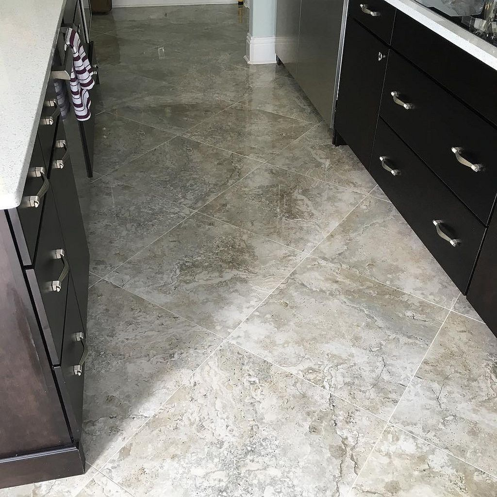 final photos of the 24x24 tarsus grey polished porcelain tile on