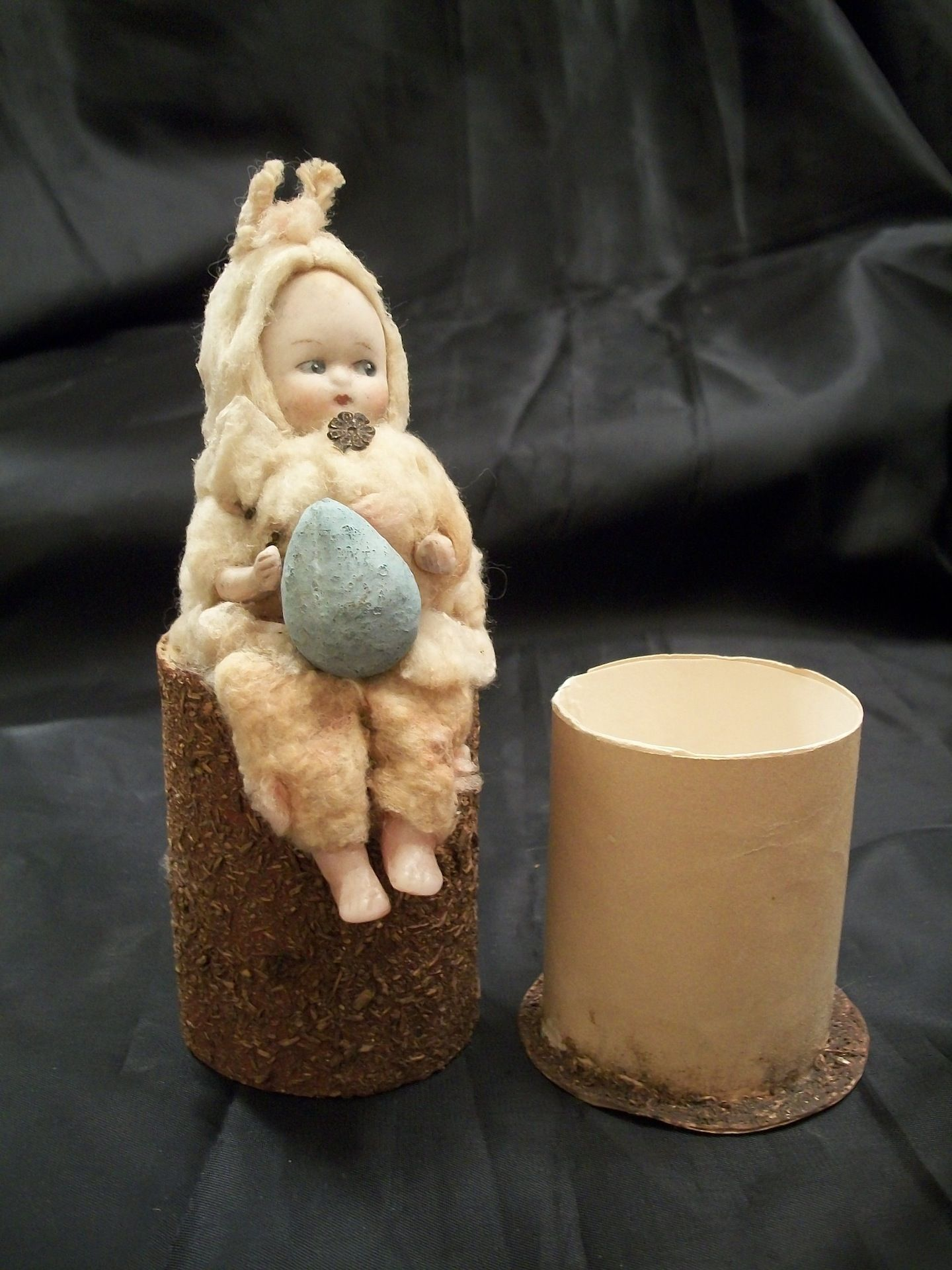 German Cotton Bunny Girl Candy Holder with Bisque Head, Holiday Memories