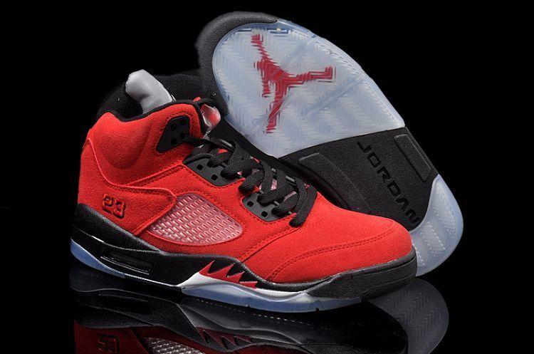 Air Jordan 5 red black Shoes