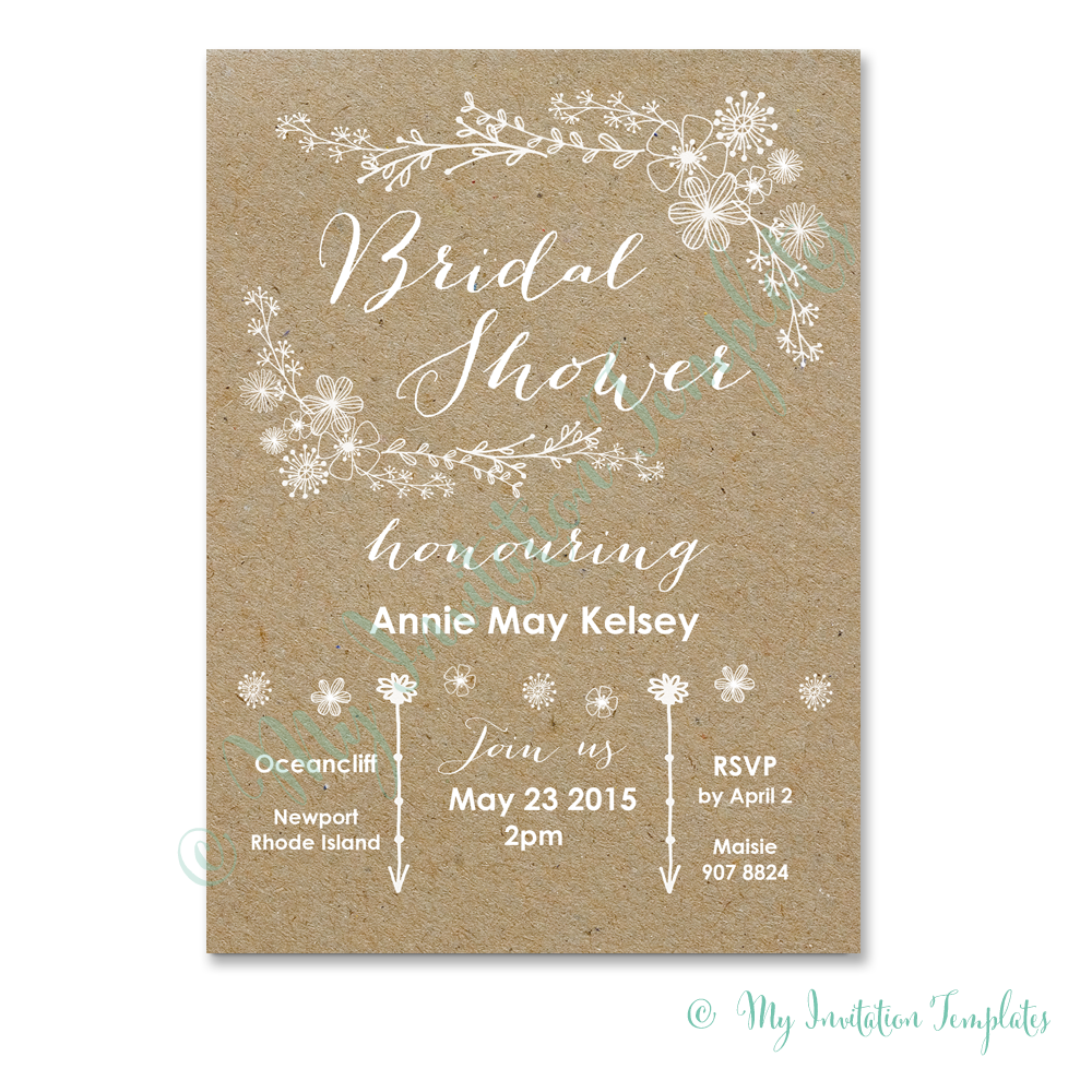 diy bridal shower invitation whimsical rustic bridal