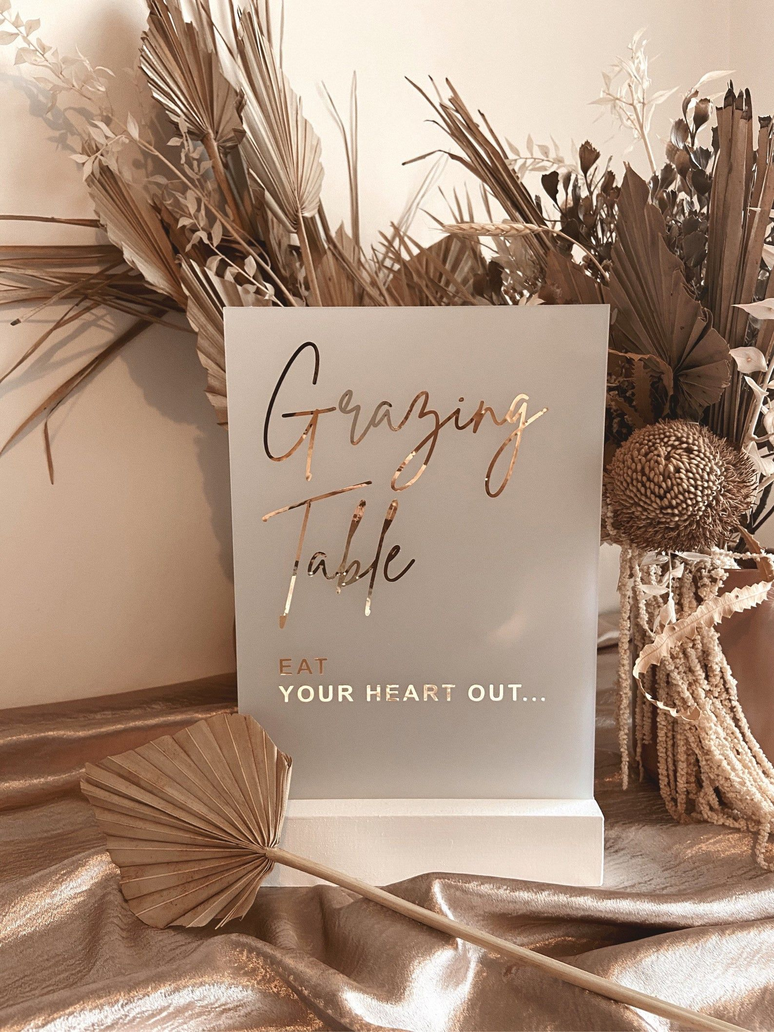GRAZING TABLE Sign Eat Your Heart Out Frosted Acrylic