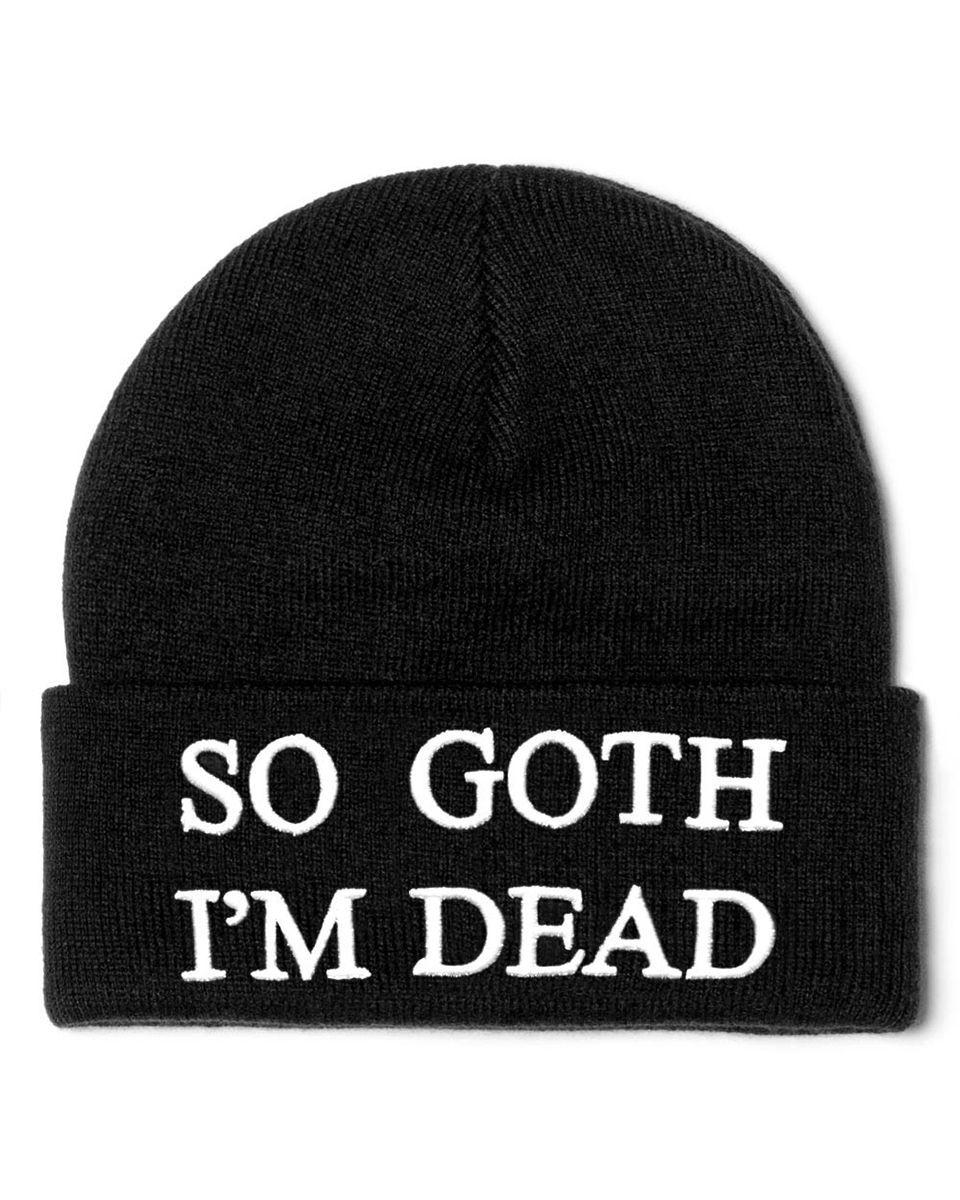 23d72247c72 Killstar Beanie Hat So Goth I M Dead Black White Punk Occult Unisex ...