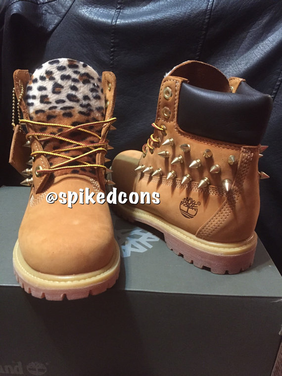 5cd945a944ad Youth Women leopard spiked or no spikes timberlands Sizes 3.5-7 ...
