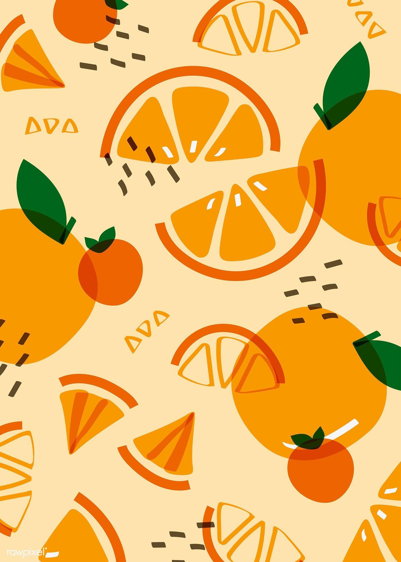 Tropical orange fruit pattern vector | free image by rawpixel.com / busbus / NingZk V.