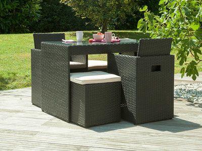 Salon de jardin 2 places: table résine tressée/verre + 2 fauteuils ...
