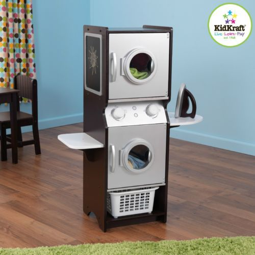 Kids Laundry Play Set Toy Washer Dryer W Shelves Iron Espresso
