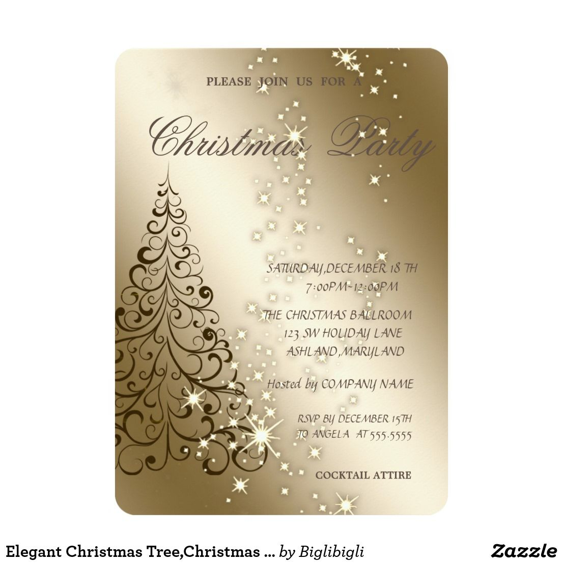 elegant christmas treechristmas party card an elegant holiday party invitation featuring a black christmas tree on gold background