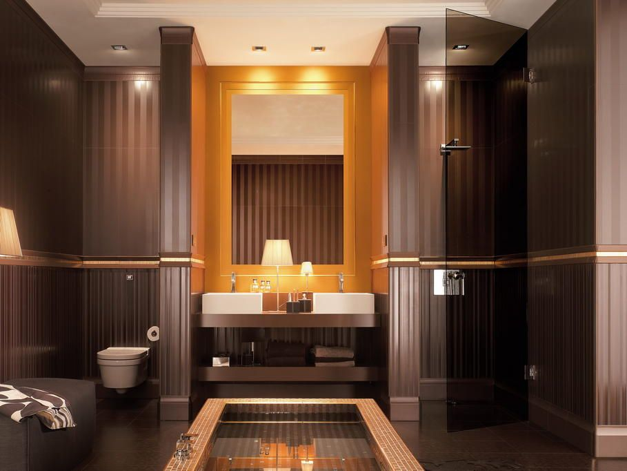 exemple déco salle de bain turquoise et chocolat | Salle de bains ...