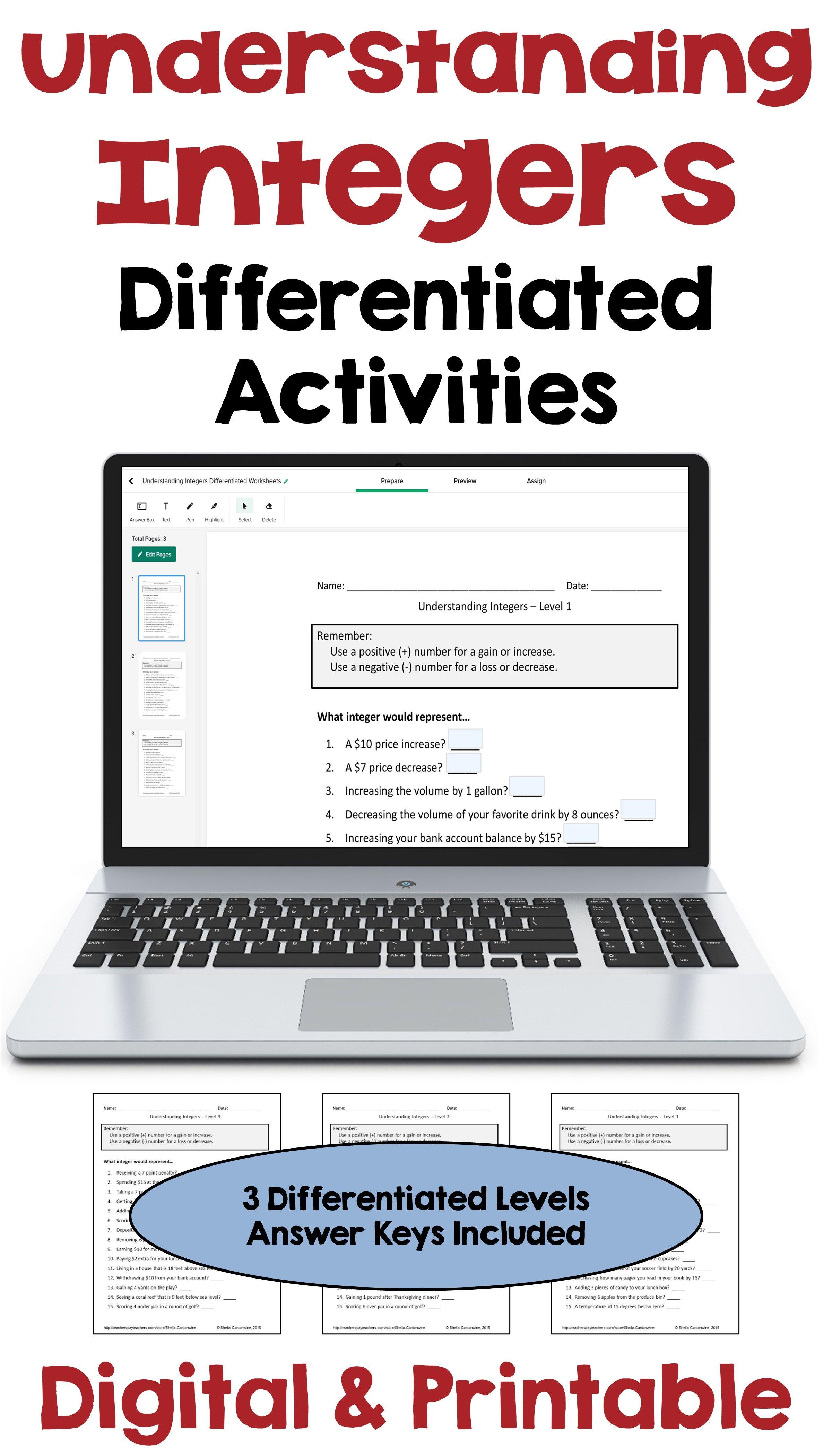 Understanding Integers Digital And Printable Activities In