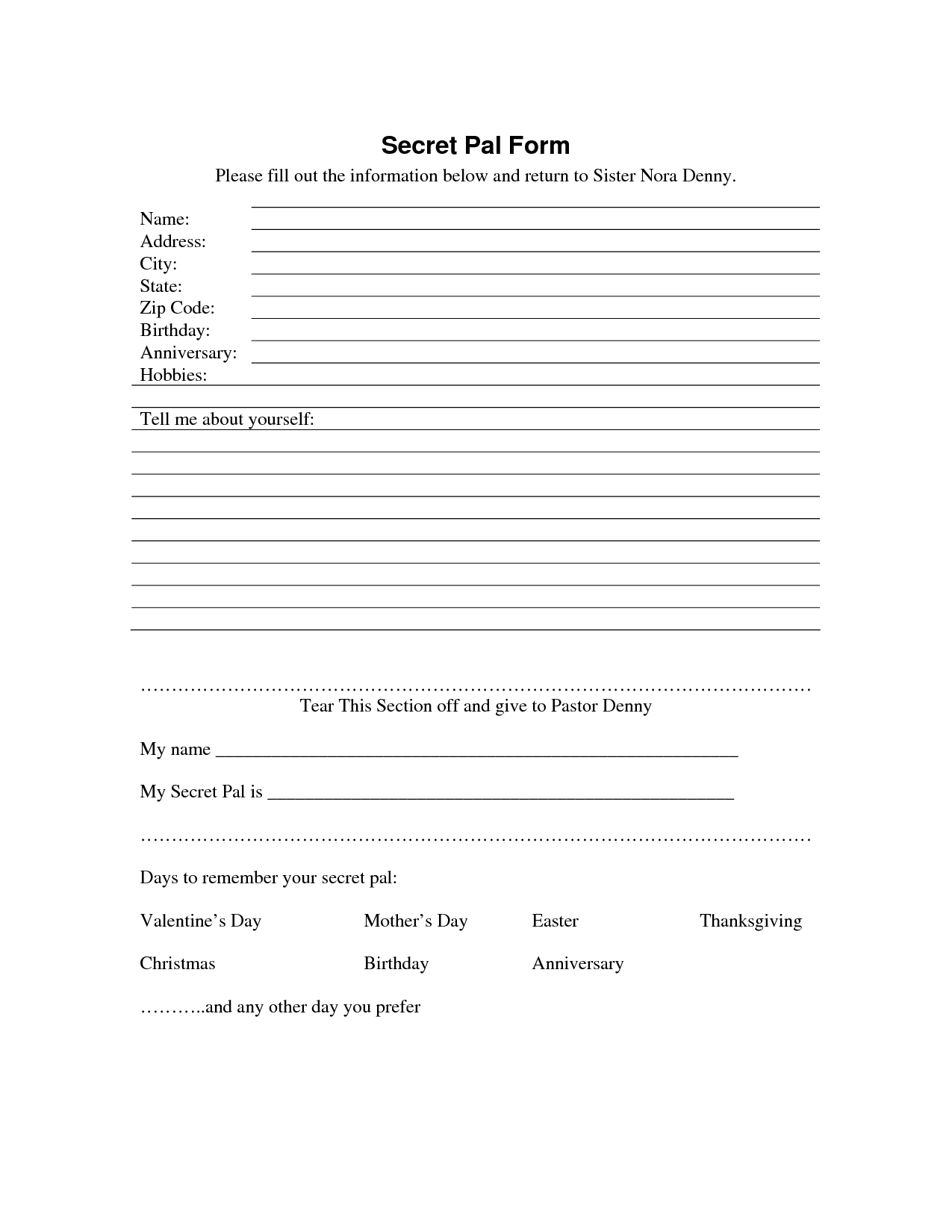 Secret Sister Questionnaire  Secret Pal Form  Download As Pdf