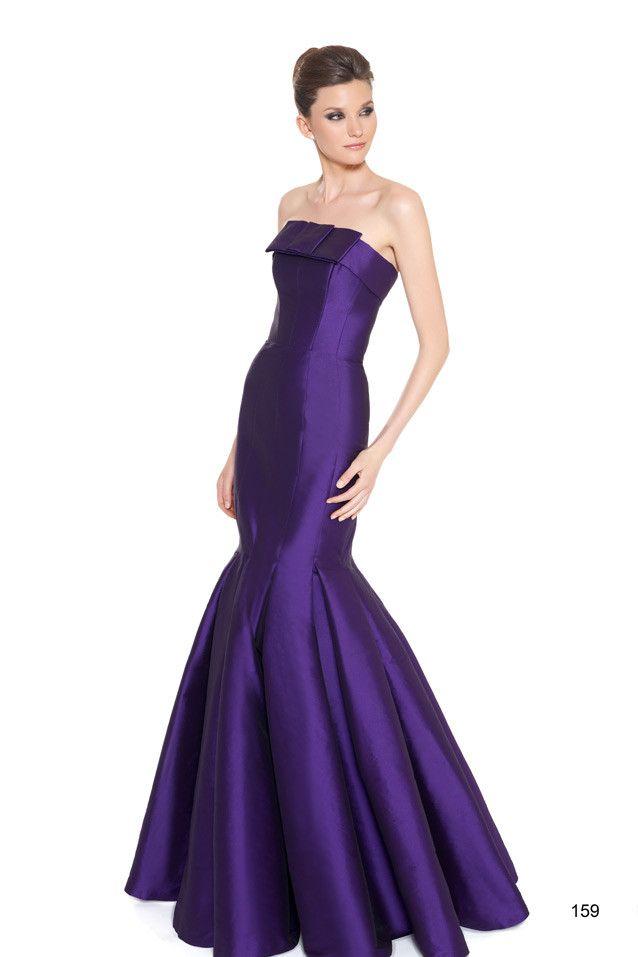 Vestido de fiesta largo en tafetán, con corpiño y falda en forma de ...