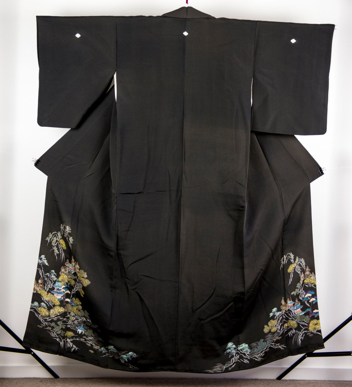 Vintage Silk Kuro Tomesode Kimono - Mountain Temple Print [T0009] by KimonosanChizuru on Etsy