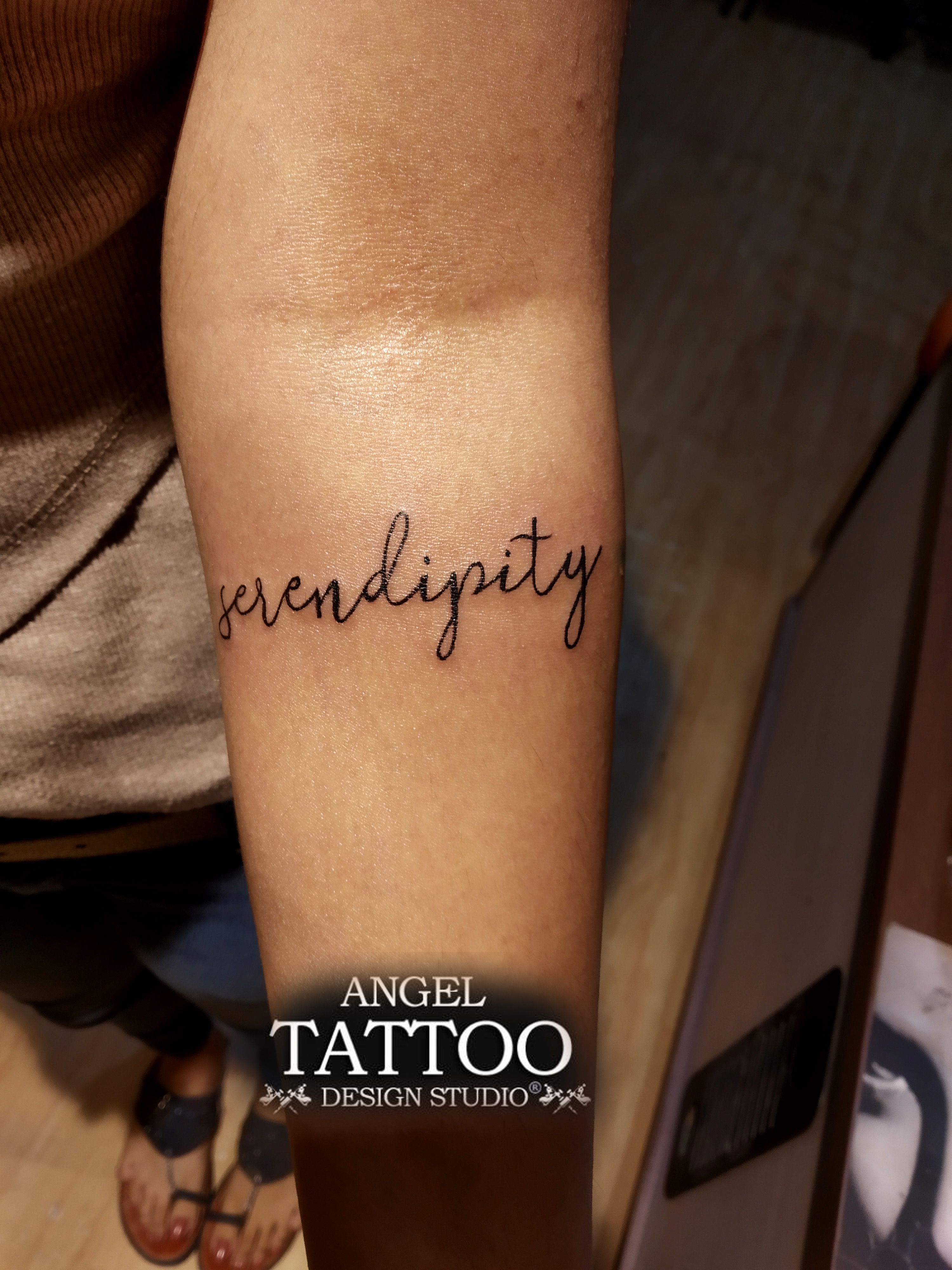 2a742c9023391 Serendipity Tattoo made at Gurgaon shop; call 8826602967 for appointment  #serendipitytattoo #tattoofonts
