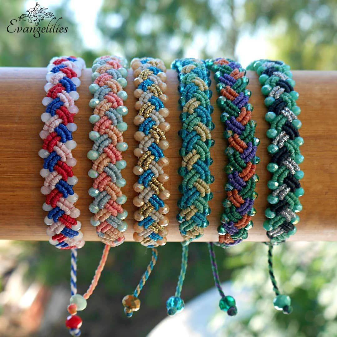 Colored macrame bracelets
