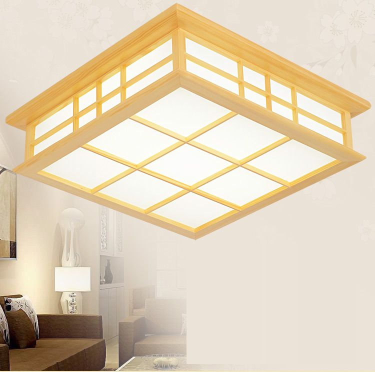 Japanese Style Delicate Crafts Wooden Frame Ceiling Light Led Ceiling Lights Luminarias Para Sala Dimming Led Ceiling Lamp Ceiling Lights Ceiling Lights & Fans