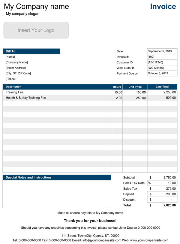 Service Invoice Template 1 Invoice Template Word Invoice Template Microsoft Word Invoice Template