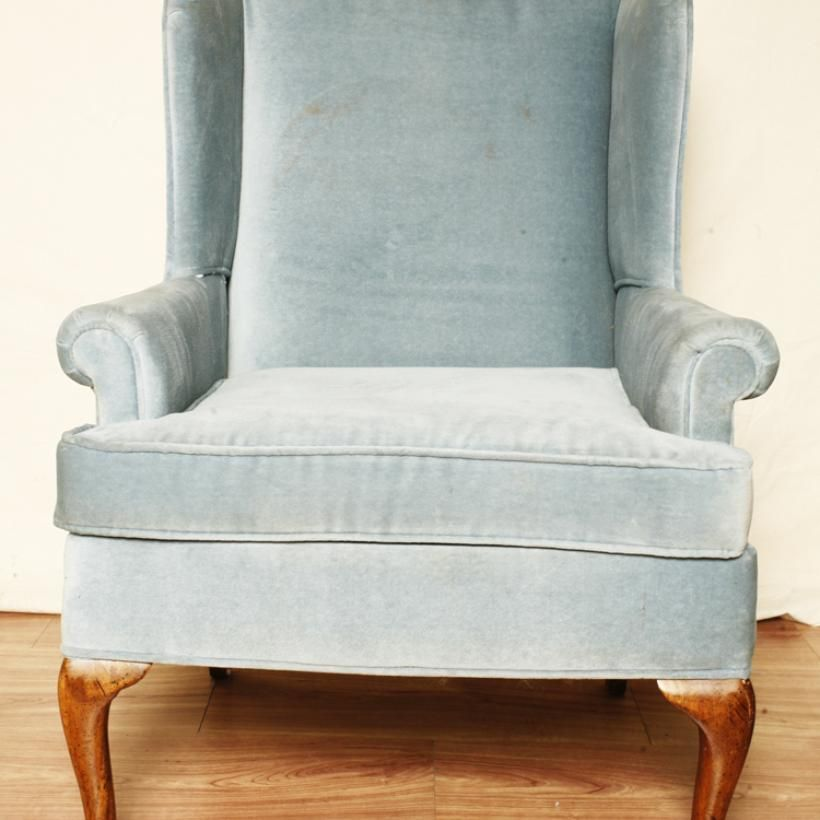 Luxury Vintage Consignment Powder Blue Velvet Wingback Chair
