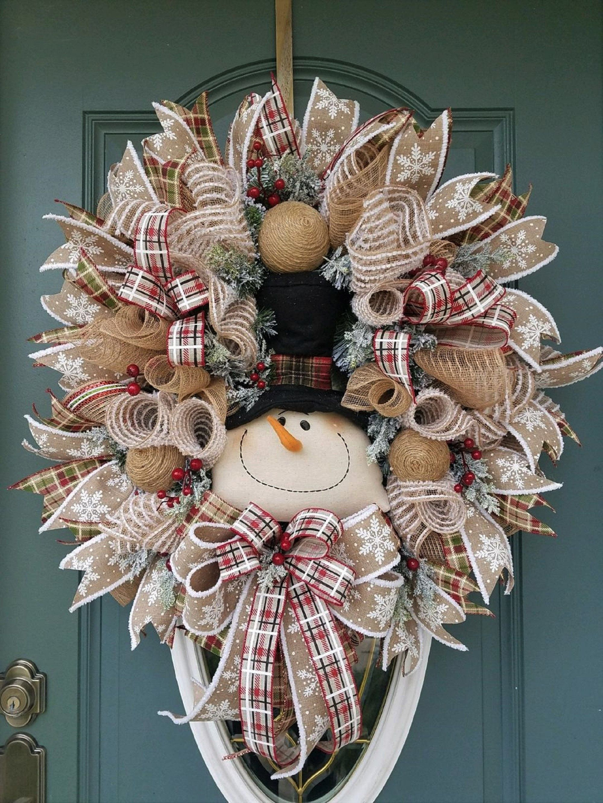Photo of Large Christmas Wreath for Front Door / Snowman Wreath for Front Door / Tan Christmas Wreath / Winter Wreath / Farmhouse Christmas Wreath