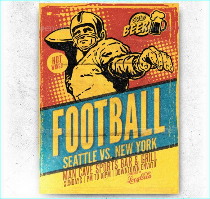Retro Football Flyer Template - Party Flyer Templates For Clubs - football flyer template