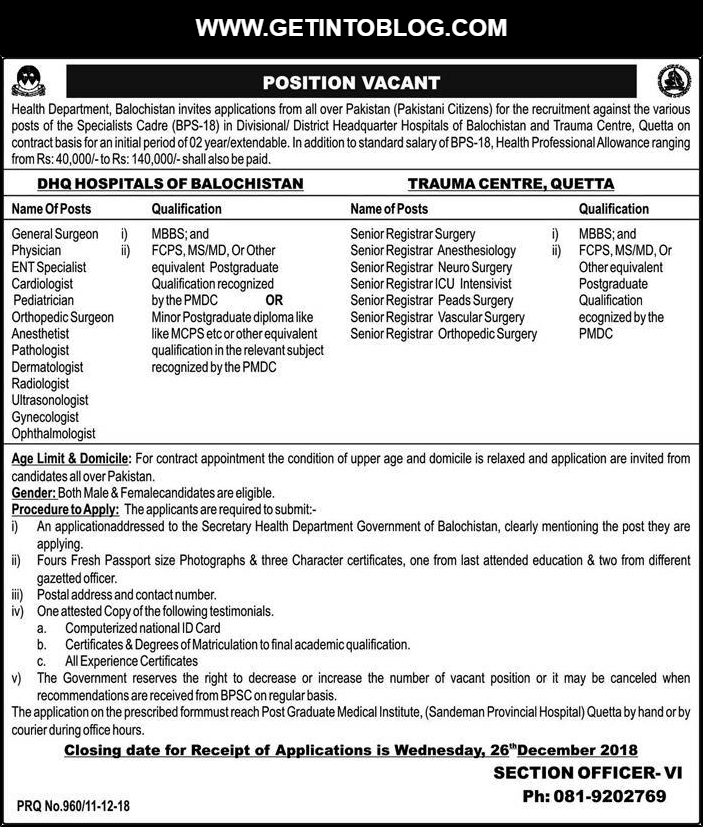 Browse All the Health Department Jobs 2018 in Balochistan