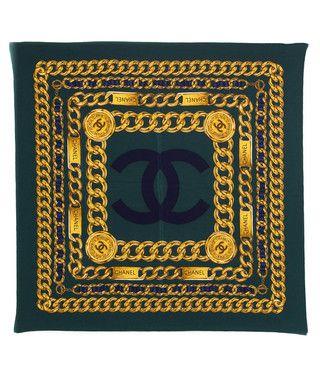 ecbb2e18a6ec Dark green chain print silk scarf by Chanel on secretsales.com ...