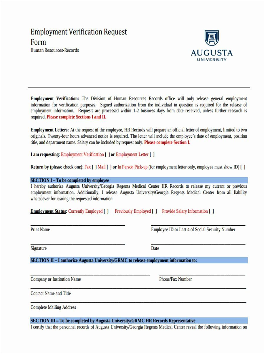 25 Employment Verification Request form in 2020 Meeting