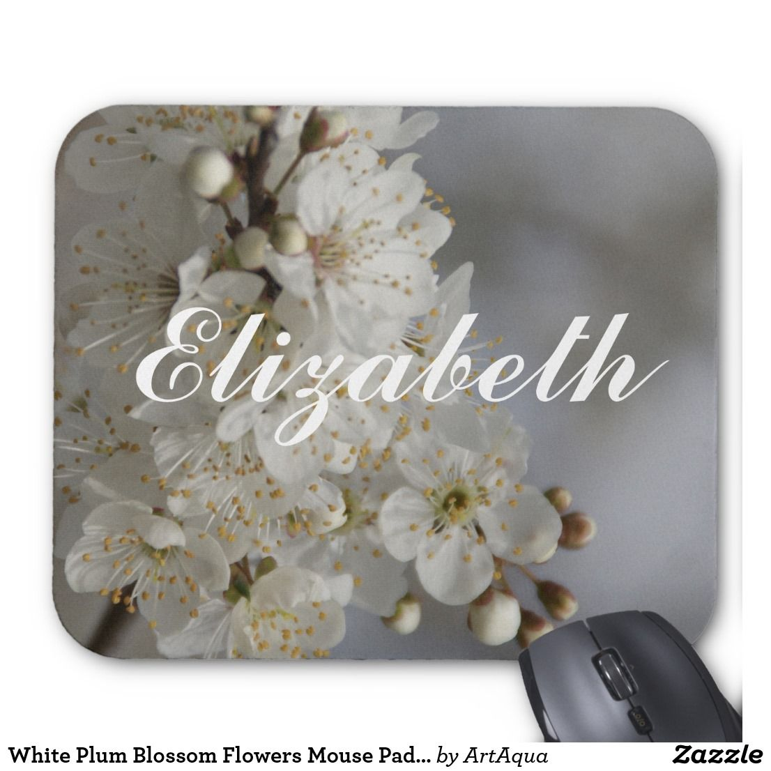 White Plum Blossom Flowers Mouse Pad Elizabeth White Plum