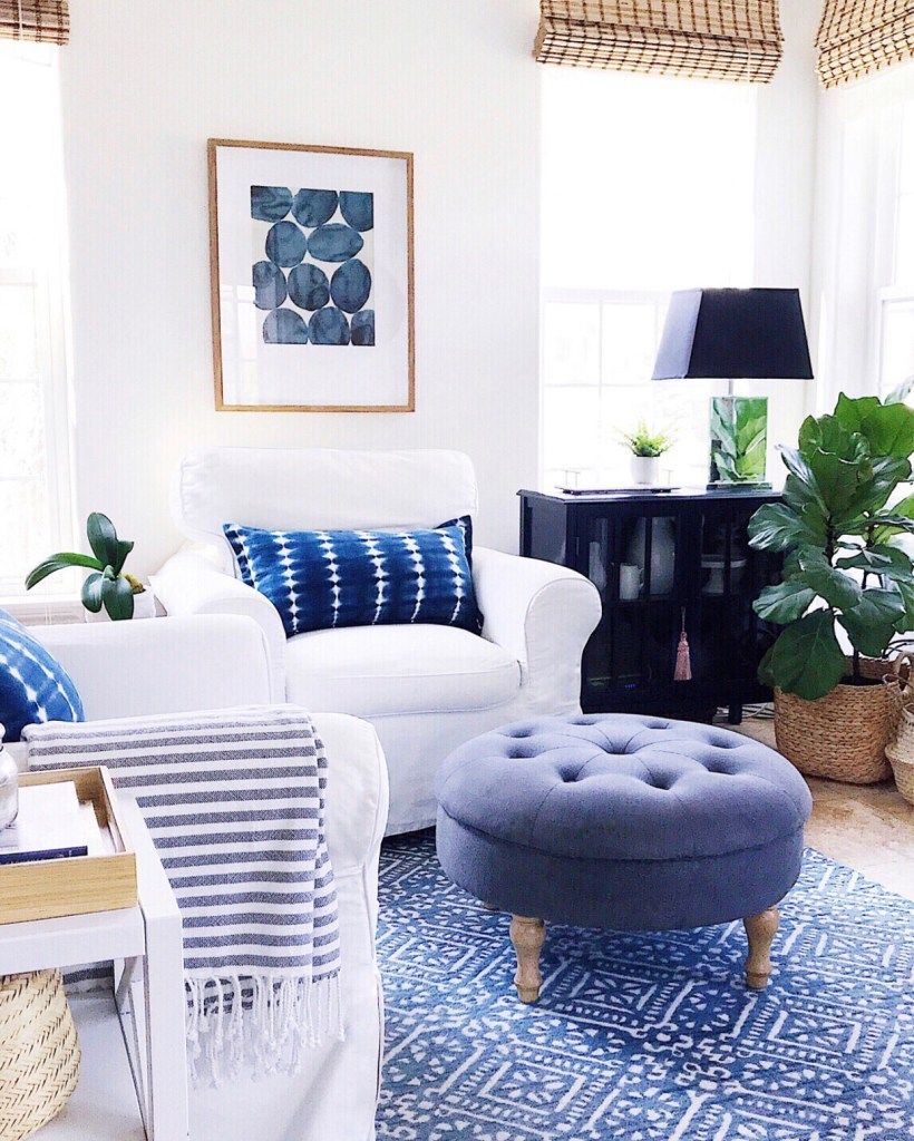 How To Choose A Design Style That Feels Right For You Jane At Home Blue And White Living Room Modern White Living Room Blue Living Room