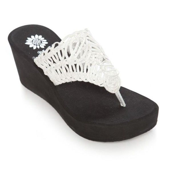 8899e76f26 Yellow Box White Rhythm Crochet High Wedge - Women s ( 40) ❤ liked on  Polyvore featuring shoes