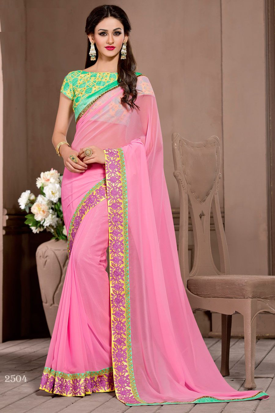 Buy Now Baby Pink Pure Georgette Embriodery Work Designer Partywear Saree. More Collection of Designer Wedding Partywear Saree On Offloo .