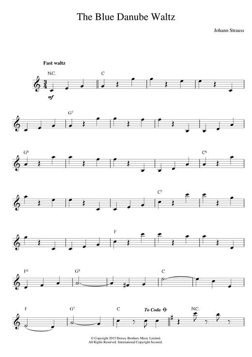 Johann Strauss II The Blue Danube Waltz for Piano.. Sheet Music | eBay