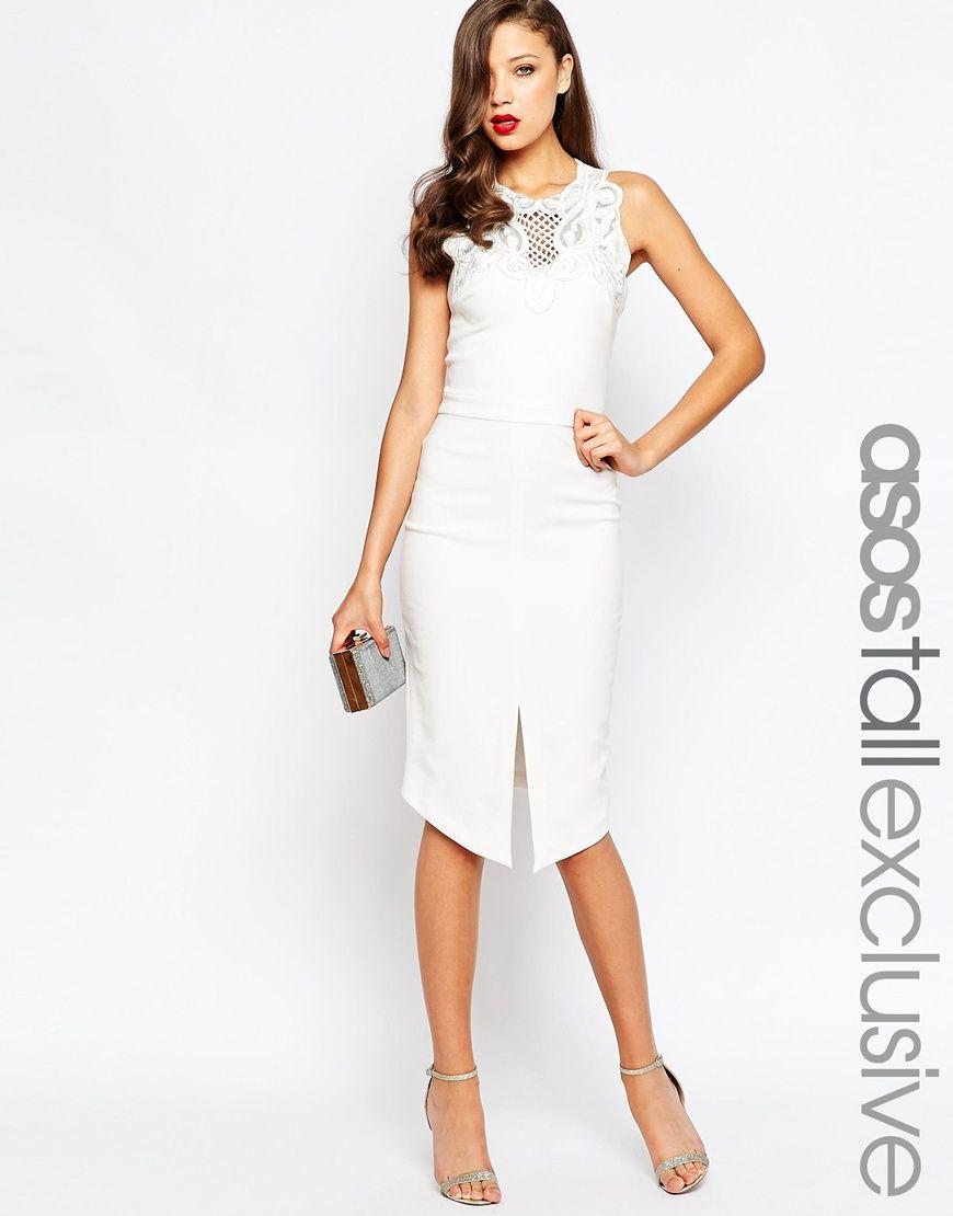c832604068 TALL RED CARPET Lace Trim Midi Dress | D_elegant day ocasion | White ...