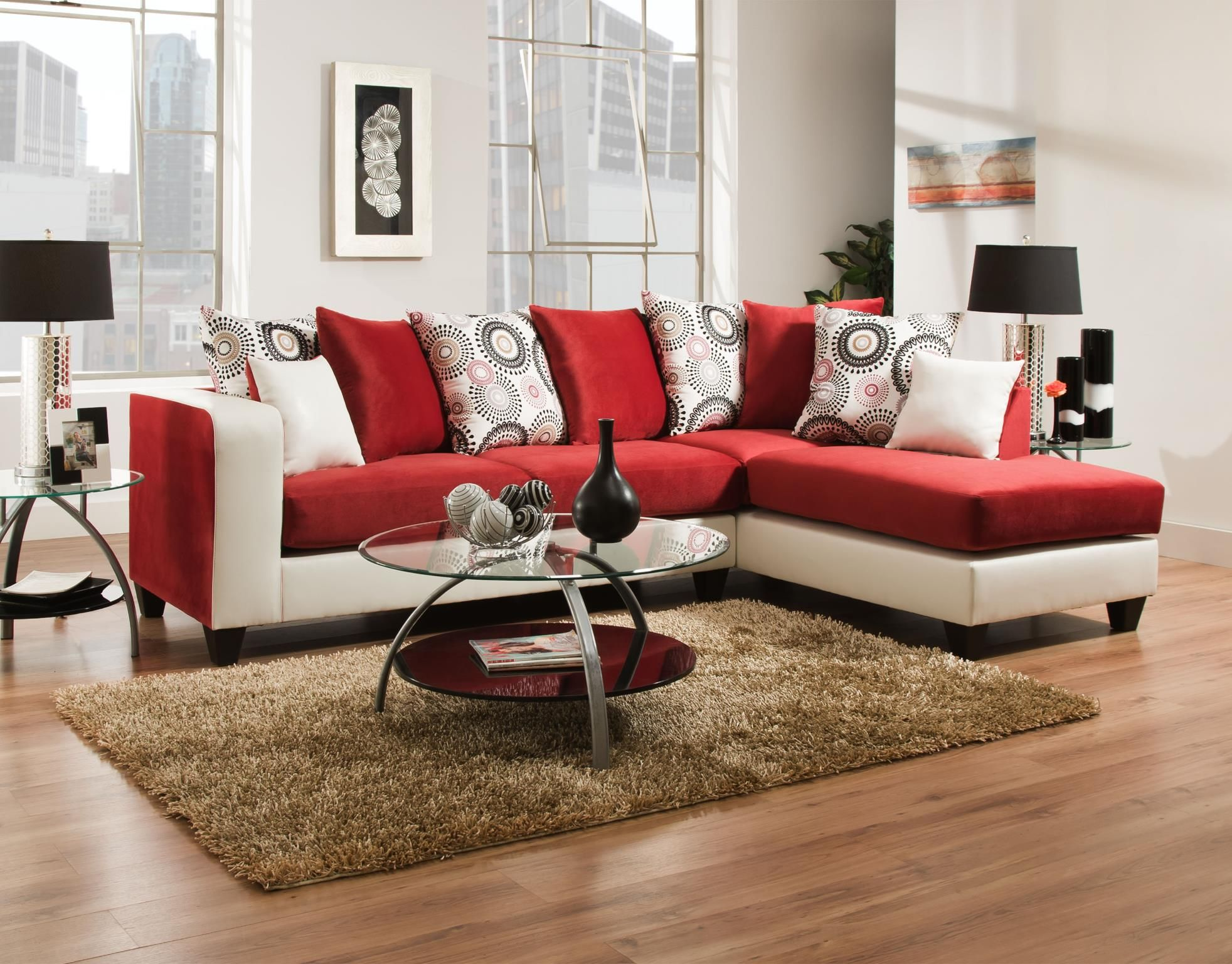 Best Delta Furniture 4124 03 Living Room Set Living Room Red 400 x 300