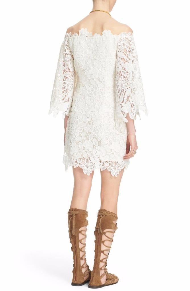 Free People Dusk Lace Dress Size 8 Ivory FTC #3376