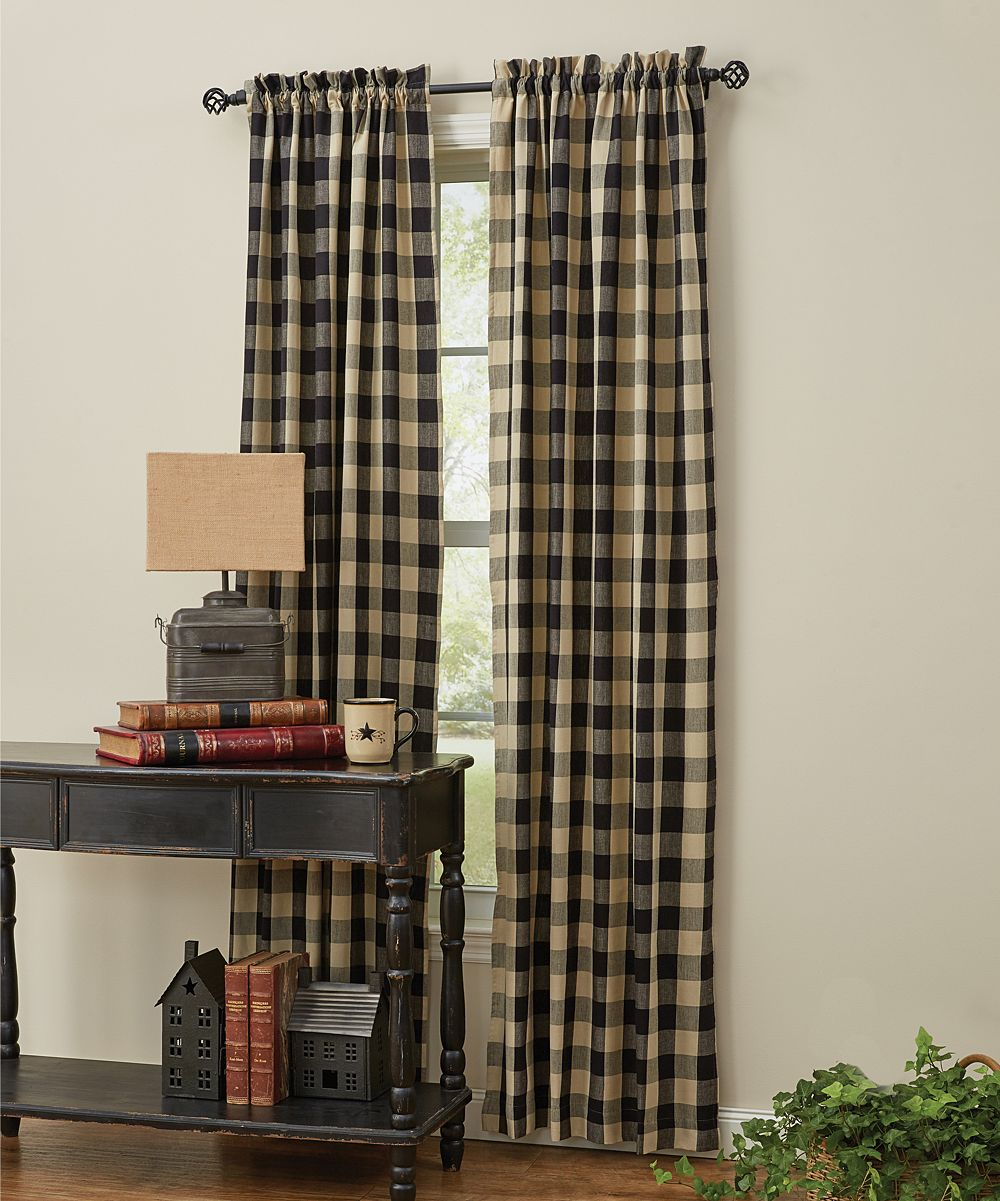 Park Designs Black Plaid Wicklow Curtain Panel Set Of Two Zulily Country Style Curtains Parking Design Country Curtains