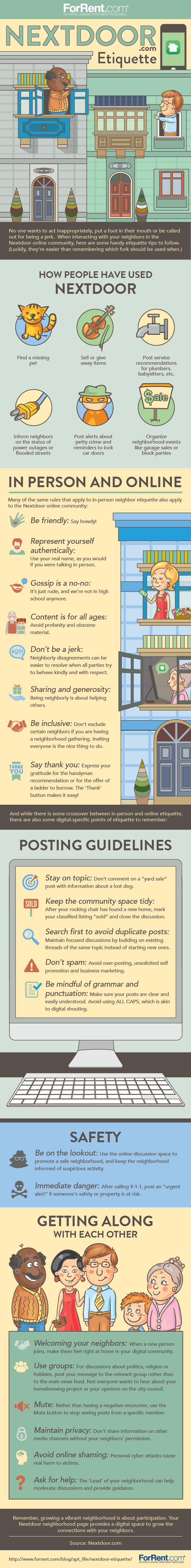 Etiquette Tips for Interacting on the Nextdoor Community #Infographic
