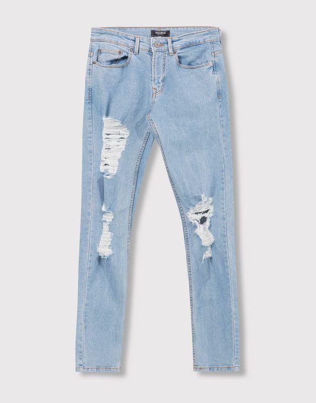 560ab44b5 Pull Bear - hombre - jeans - jeans slim fit con rotos - azul clar -  05683553-V2016