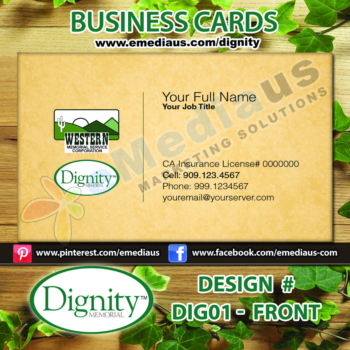 dignity business cards 14pt uv coated both sides front