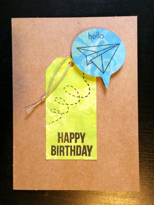 A Bit Of Glue & Paper - handmade birthday card with green spray inked tag, teal speech bubble; happy birthday sentiment stamped in black, paper airplane and hello stamped in bubble; CAS(E) tThis Sketch 208 #CTS208