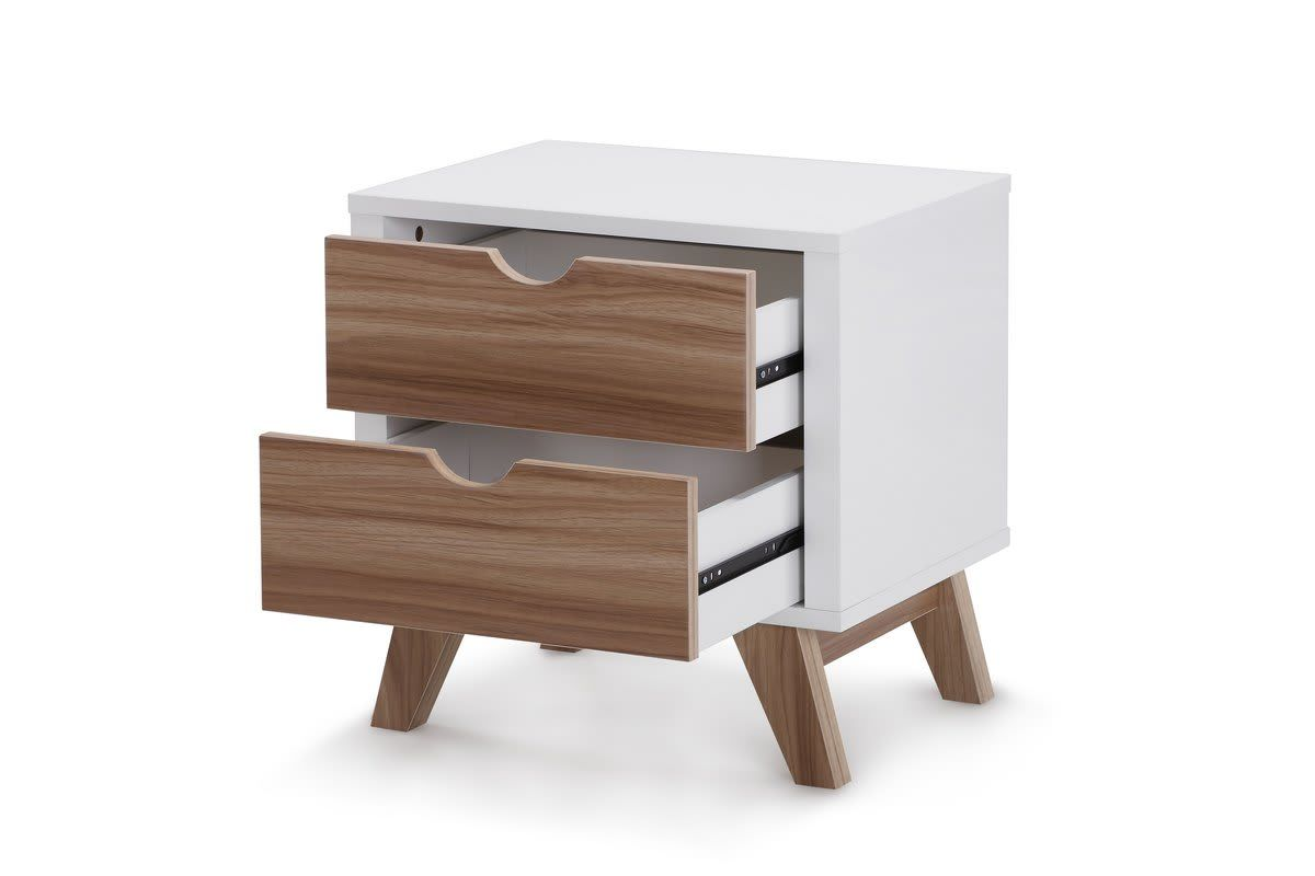 Best Ovela 2 Drawer Bedside Table Finse Collection White 640 x 480