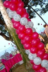 dsc 1256 zebra print magenta balloons decoration columns beach