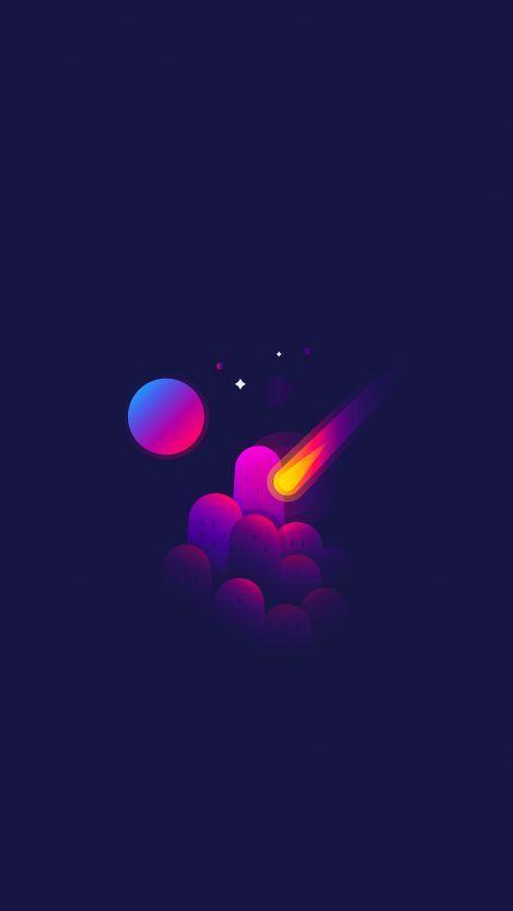 Minimal Space Meteorite Shooting Star Iphone Wallpaper Iphone Wallpaper Minimalist Wallpaper Space Art