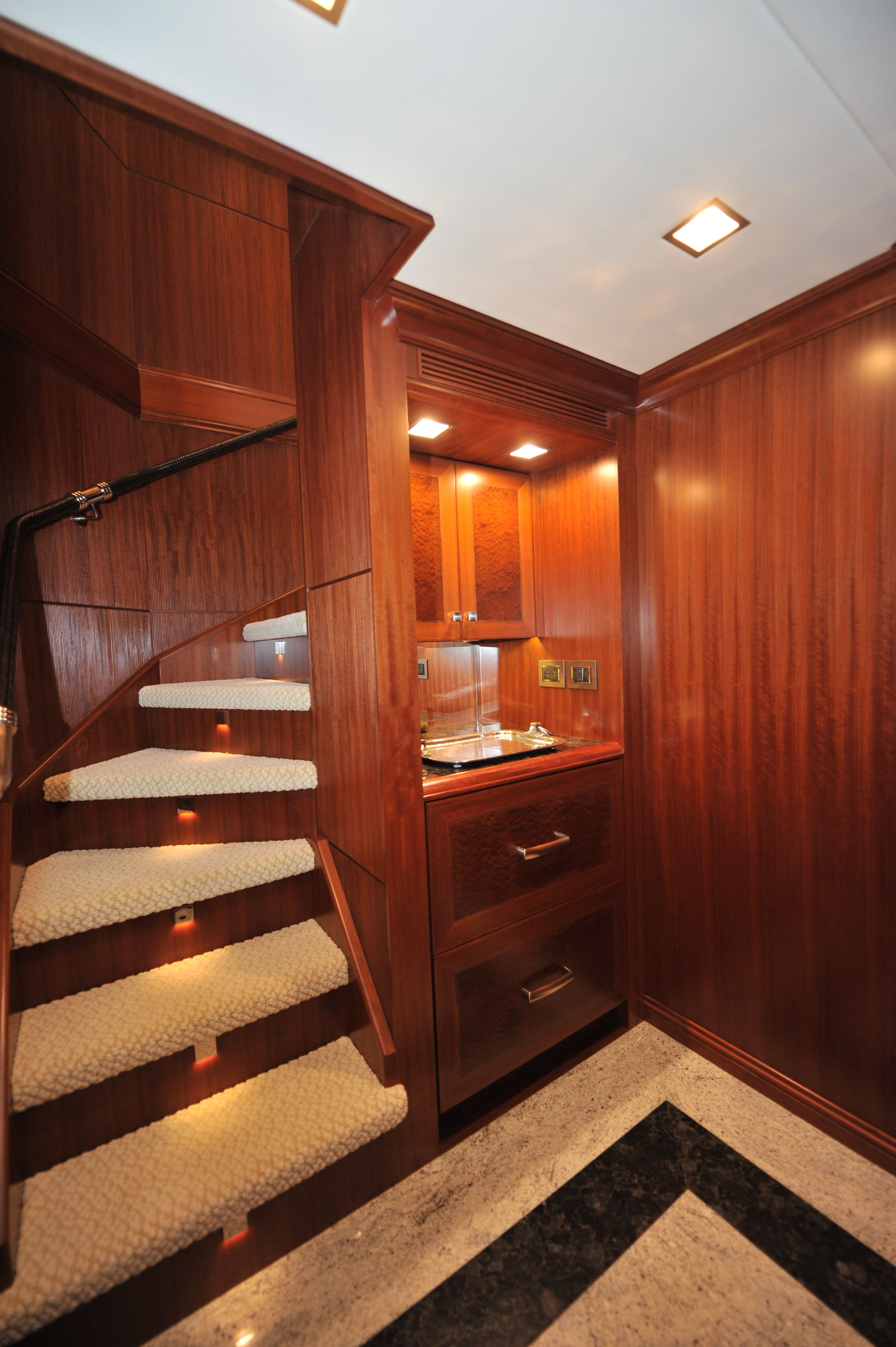 Trawler Engine Room: Nordhavn 120-Aft Guest Foyer-Custom Yacht Interior Design