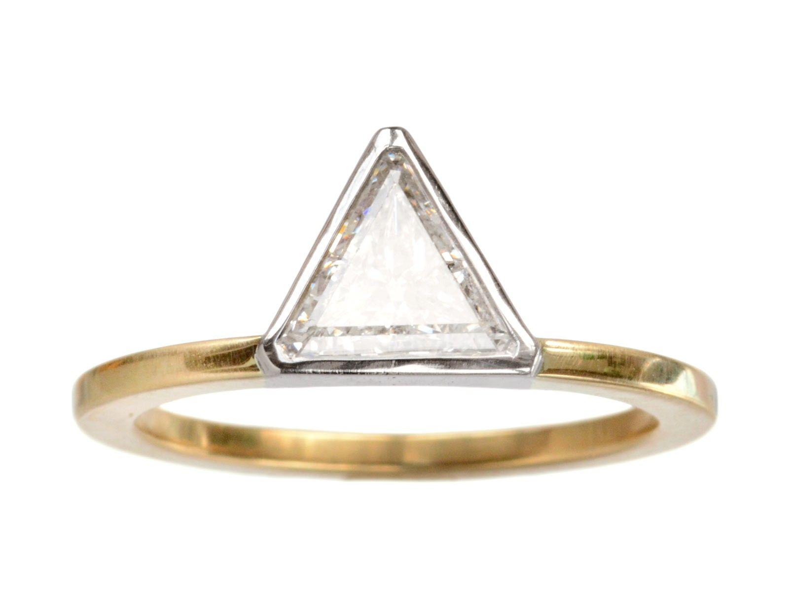 a solitaire engagement in carat rings e gold diamond triangular white petite ring