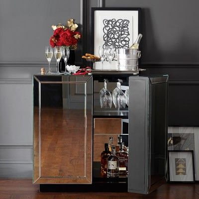 Harrington Mirrored Bar Cabinet, Mirrored Wine Cabinet