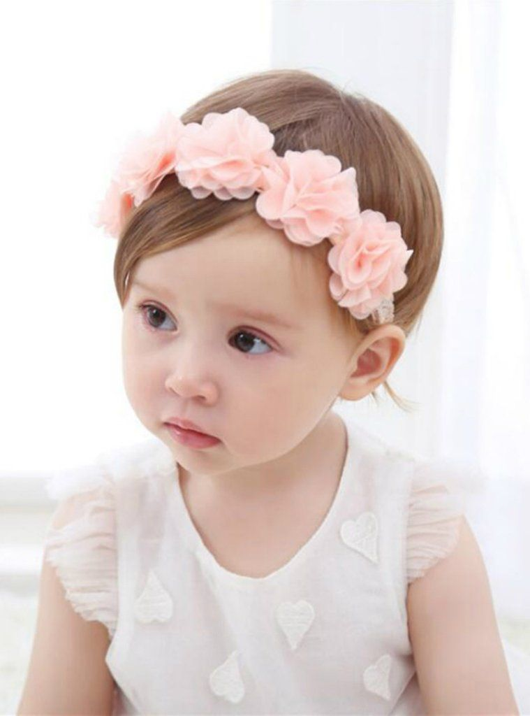 Pink satin bow headband baby hair band handmade for special occasions lace tiara